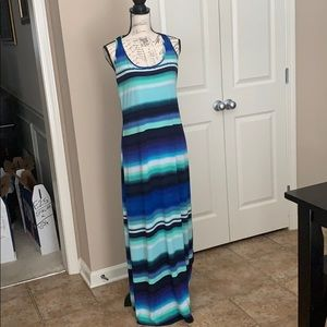 Blue/green maxi dress